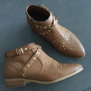 Studded camel booties