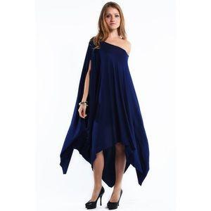 """Libra"" Asymmetrical Poncho Dress"