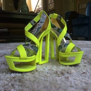 Neon Lemon Lime and Snakeskin Geometric Heels