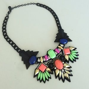 Colorful statement necklace. Black metal