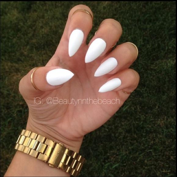 Brandy Melville Accessories   Matte White Stiletto Nails Set 10 ...
