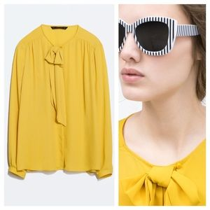 Zara Tops - Zara Blouse with Bow Collar