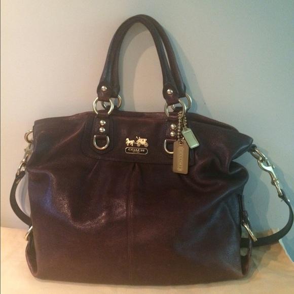13ba7cf825e4 Coach Handbags - Dark brown Coach handbag with gold accents