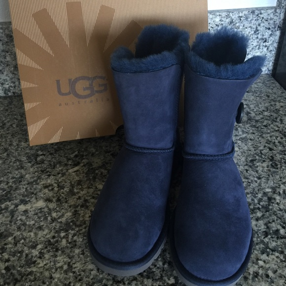 UGG Bailey Button Navy Suede Classic Short Boots