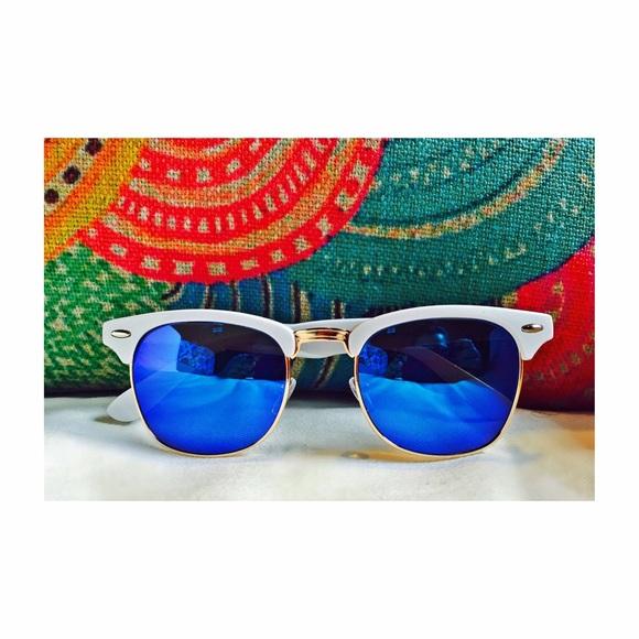 722d0b93bf White Clubmasters w. Blue Mirror Lenses