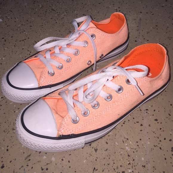 Converse neon coral low tops