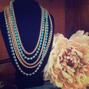 Multi chain Gold and Blue Necklace 