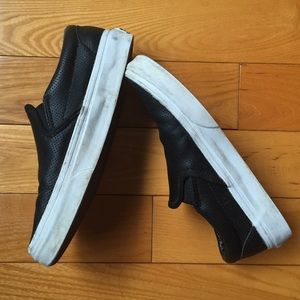 Vans Shoes - Vans Classic Slip Ons black perforated leather 5ccdfdcac