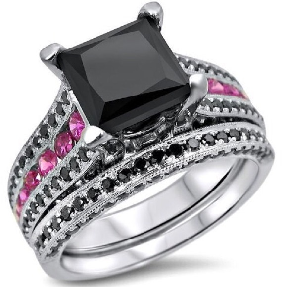 86% off Jewelry 2Ct Black Princess Cut CZ Engagement Ring Set from s