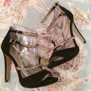 Zara gold chain heels