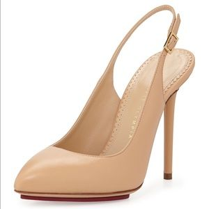 Charlotte Olympia Monroe Leather Slingback Pump 10