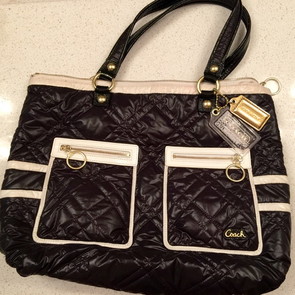 3600a2395f Coach Handbags - COACH Pop Ski Bunny Black   White Nylon Tote