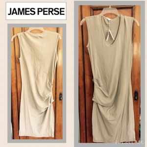 NWT JAMES PERSE Ruched side V Neck Dress Shad
