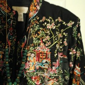 Chico's Jackets & Coats - Silk embroidered jacket Asian inspired