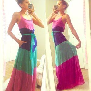 ⭐️RARE⭐️Tulle Colorblock Maxi Dress!