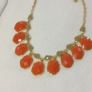 Gray orange gold statement necklace new
