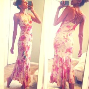 ⭐️ RARE⭐️ Vintage Tulip Hem Butterfly Maxi Dress!