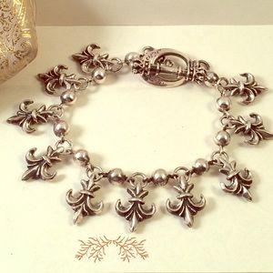 King baby studio Jewelry - King Baby Studio Fleur De Lis Charm Bracelet 8.5