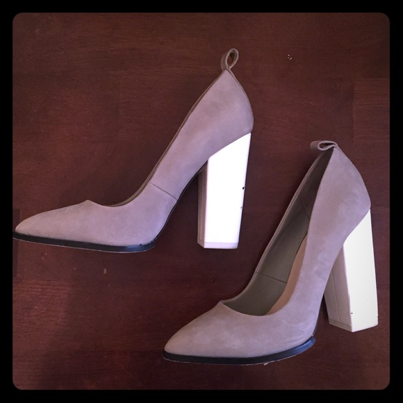 ALDO Shoes - Grey and white block heels