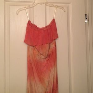 NEW NWOT Gypsy 05 Silk pink tie dye maxi dress