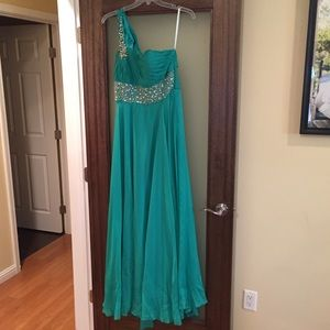 Aqua dress one shoulder with crystal