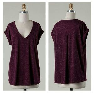 Tops - Heather Burgandy tee - M