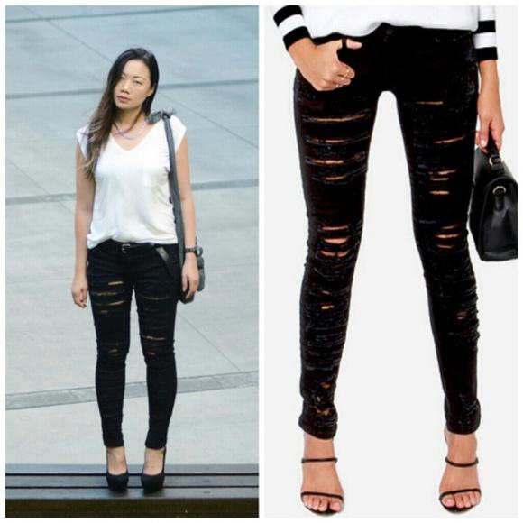 88% off blanknyc Denim - BlankNYC Black Distressed Skinny Jeans ...