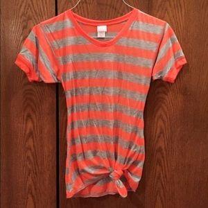 Neon Orange Striped Tie Shirt