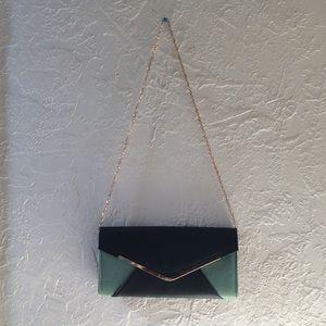 Envelope clutch/shoulder bag - color block + gold