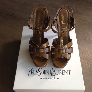 YSL patent Tribute sandal  sz 38.5 box included