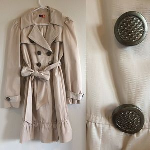 T Party Jackets & Blazers - Creme Trench Coat with Ruffles