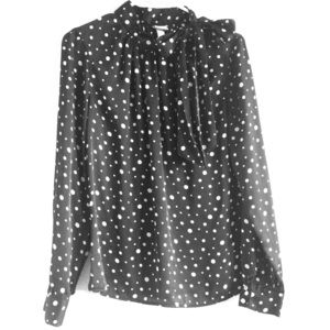 Merona Tops - Polkadot Black & White Long Sleeve Shirt with Bow