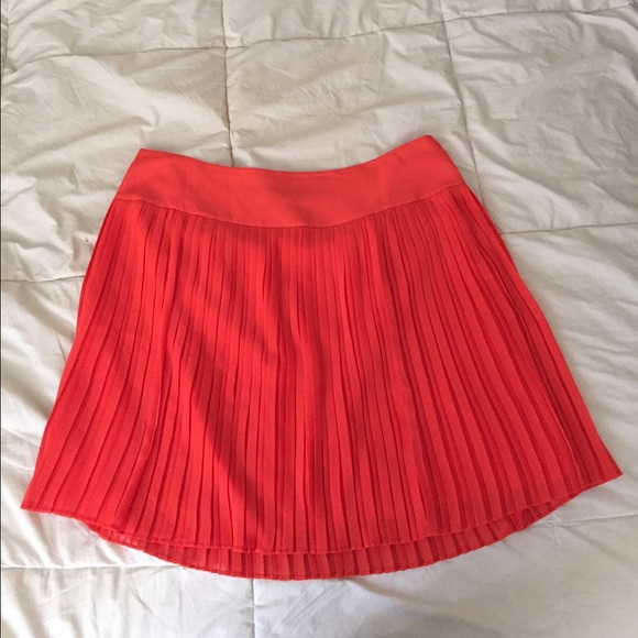 loft sale loft coral orange pleated skirt from