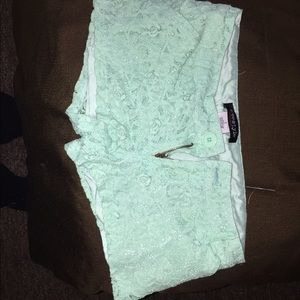 Other - Mint green lace shorts