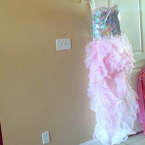 Pink hi-lo prom dress