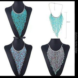 Handmade bohemian bead tassel necklace