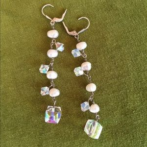 Jewelry - Pearl and iridescent sterling silver earrings
