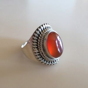 Jewelry - Orange Stone Sterling Silver Ring