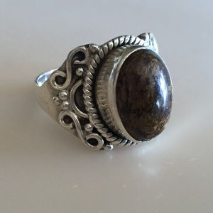 Jewelry - Brown Stone & Sterling Silver Ring