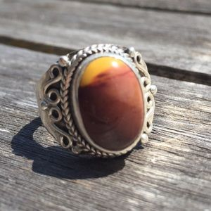Jewelry - Brown & Yellow Stone Sterling Silver Ring