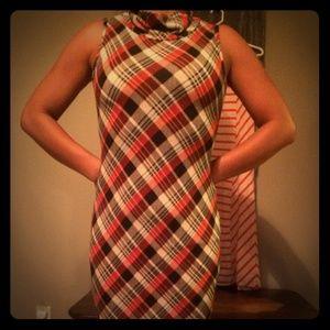 Mock turtle neck plaid sleeveless dress