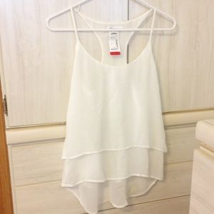 Ambiance Apparel Tops - White Layered Tank Top