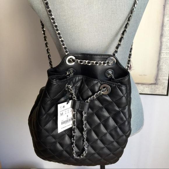 Zara Accessories Black Chain Backpack Poshmark