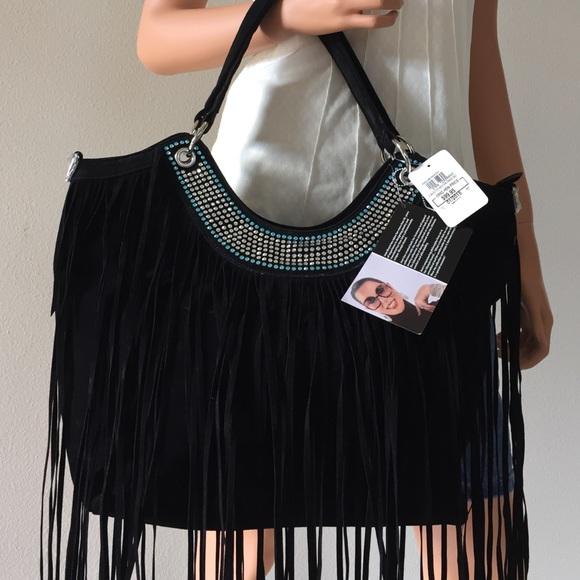 2a5ab80384 Joan Boyce Western Fringe Handbag Black