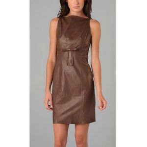 Robert Rodriguez brown leather dress.