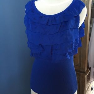 Moschino Cheap and Chic Blue SL Ruffle Top 10 NWT