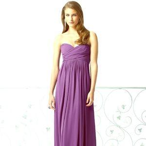Dessy strapless purple bridesmaids dress