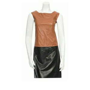Hache Tan and Black leater Dress