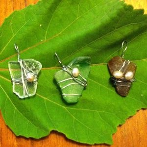 Sea glass and freshwater pearl pendants