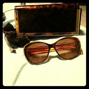 Tory Burch Tortoise Cateye Sunglasses Gold Logo